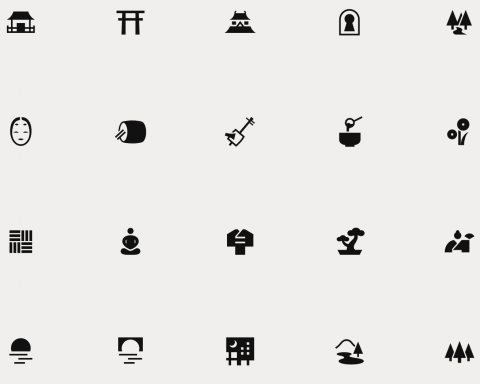 Japanese pictograms a day of zen
