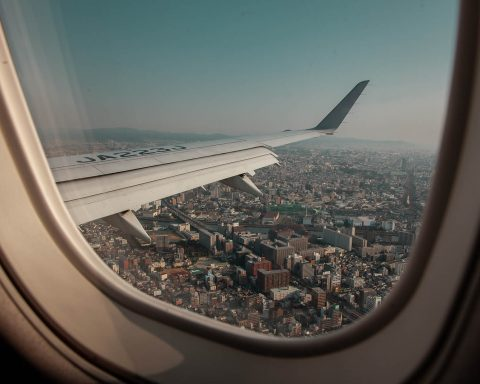 Japan flight out window